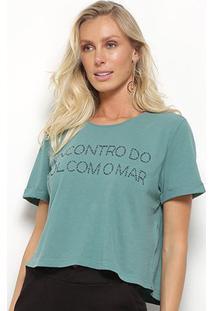 Blusa Cropped Maria Filó Sol E Mar Feminina - Feminino