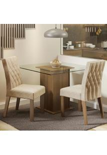 Conjunto Sala De Jantar Madesa Cassia Mesa Tampo De Vidro Com 2 Cadeiras Marrom - Tricae