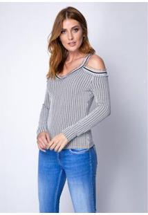 Blusa Ombros Vazados Com Babados Lança Perfume Feminino - Feminino-Branco+Preto