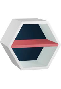 Nicho Hexagonal Favo Ii Com Prateleira Branco Com Azul Noite E Rosa New