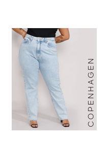 Calça Jeans Feminina Plus Size Mindset Reta Loose Copenhagen Cintura Super Alta Azul Claro Marmorizado