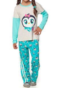 Pijama Patches - Verde Água & Cinza Claropuket