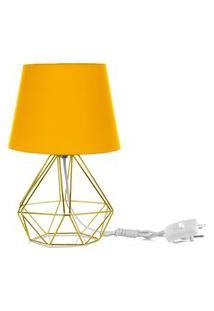 Abajur Diamante Dome Amarelo Com Aramado Dourado