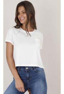 Blusa Feminina Básica Cropped Com Bolso Manga Curta Decote Redondo Off White