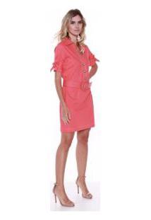 Vestido Studio 21 Fashion Linho C Cinto - Feminino-Coral