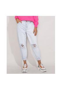 Calça Jeans Feminina Mom Jogger Clochard Cintura Super Alta Destroyed Azul Claro