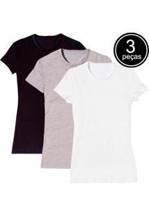 Kit Com 3 Blusas Baby Look Básica Part.B Gola Redonda Colors - Tricae