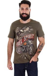 Camiseta Free Spirit Masculina Km - Verde Escuro