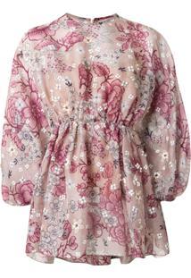 Biyan Blusa Oversized Com Estampa Floral - Roxo