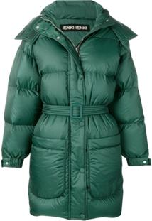 Ienki Ienki Belted Oversized Padded Jacket - Verde