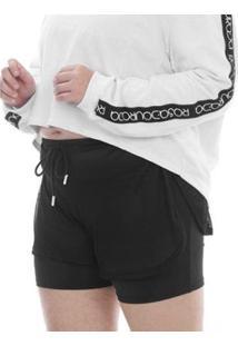 Shorts Plus Size Rosa Dourada Tela Sobreposta - Feminino-Preto