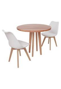 Conjunto Mesa De Jantar Em Madeira 90Cm Com Base Vértice + 2 Cadeiras Leda - Branco