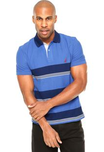 Camisa Polo Nautica Listras Contraste Azul