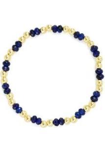Pulseira Piuka Lana Lápis Lazuli Banhada Ouro Feminina - Feminino-Dourado+Azul