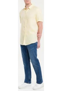 Camisa Mg Curta Regular Cannes Linen - Amarelo Claro - 1