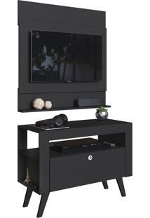 Home C/ Bancada E Painel Para Tv Até 36 Pol. Canadá Preto Artinmóveis