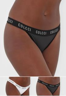 Kit 2Pçs Calcinha Colcci Underwear Fio Dental Lettering Branco/Preto