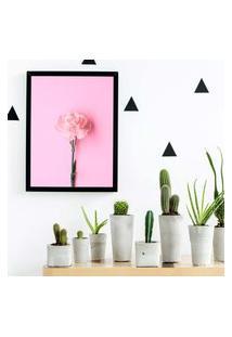 Quadro Decorativo Com Moldura Rosa Preto - 20X25Cm