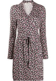 Dvf Diane Von Furstenberg Vestido Jeannie Com Estampa Floral - Preto