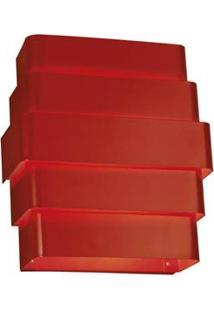 Arandela Interna Retangular Laor Suíça Em Alumínio Bivolt Com Soquete G-9 - Vermelha