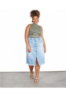 Saia Jeans Besni Plus Size Midi Puídos Feminina - Feminino
