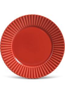 Conjunto 6Pçs Pratos Rasos 26,5Cm Porto Brasil Plissé Vermelho