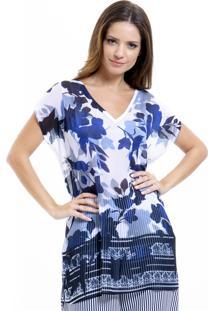 Blusa 101 Resort Wear Tunica Decote V Crepe Estampada Fendas Azul