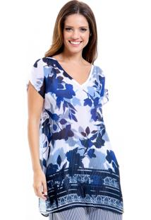 Blusa 101 Resort Wear Tunica Saida De Praia Decote V Crepe Estampada Fendas Azul - Azul/Branco - Feminino - Dafiti