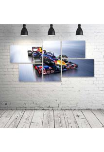 Quadro Decorativo - Formula-1-Red-Bull-Rb8-Race-Car - Composto De 5 Quadros - Multicolorido - Dafiti