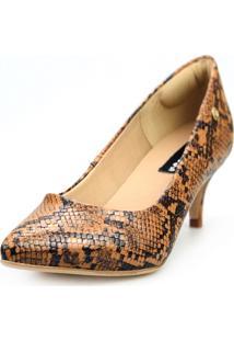 Scarpin Love Shoes Social Bico Fino Salto Médio Piton Caramelo