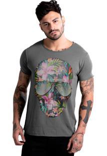 Camiseta Estonada Corte À Fio Joss Caveira Flores Chumbo