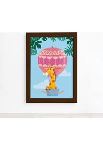Quadro Infantil Girafa E Balão Moldura Marrom 33X43Cm