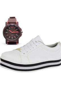 Tênis Flatform Mais Relógio Ousy Shoes Casual Elegante Branco