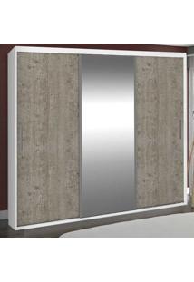 Guarda-Roupa Casal 3 Portas Com 1 Espelho 100% Mdf 1973E1 Branco/Demolição - Foscarini