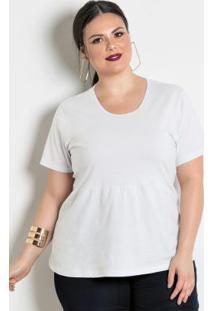 Blusa Peplum Branca Detalhe Gota Plus Size
