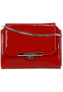 Bolsa Couro Jorge Bischoff Mini Bag Alça Corrente Feminina - Feminino-Vermelho