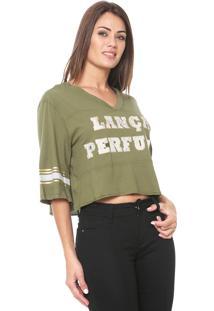 Camiseta Cropped Lança Perfume Estampada Verde