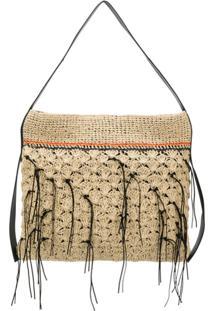 Dorothee Schumacher Leather Detailed Straw Shoulder Bag - Neutro