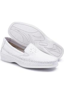 Sapato Pizaflex Couro Comfort Feminino - Feminino-Branco
