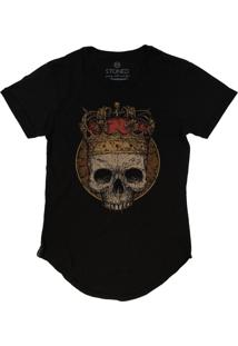Camiseta Stoned Longline King Skull Preto