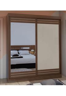 Guarda Roupa Solteiro Com Espelho 2 Portas 2 Gavetas Prestige Marrom/Off-White