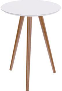 Mesa Lateral Formato Tampo Branco Fosco Com Pes Claros 45 Cm (Larg) - 50118 - Sun House