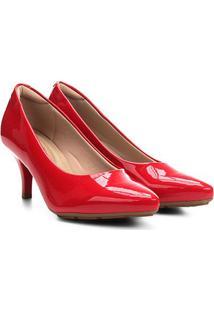 Scarpin Modare Salto Médio Verniz - Feminino-Vermelho Escuro