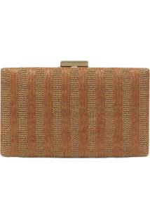 Clutch Lisbella Mix Tramas Marrom Claro