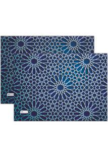 Kit 2Pçs Jogo Americano Mdecor Abstrato 40X28Cm Azul Marinho