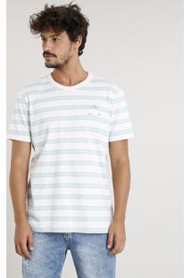 "Camiseta Masculina ""Los Angeles"" Listrada Manga Curta Gola Careca Rosa Claro"