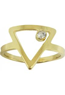 Anel Kumbayá Triângulo Ponto De Luz Semijoia Banho De Ouro 18K Cravação De Zircônia