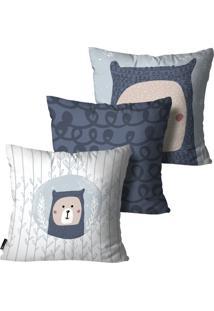 Kit Mdecore Com 3 Capas Para Almofada Infantil Urso Azul 55X55Cm