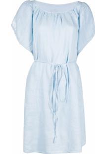 120% Lino Vestido De Linho Com Mangas Transpassadas - Azul