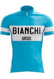 Camisa Uv Scape Bianchi Campagnolo Retro Azul